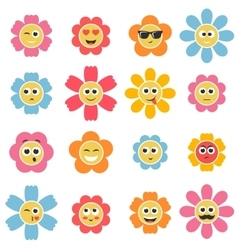Flower smiley faces vector