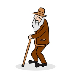 Funny old man with hat and walking cane vector