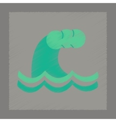 Flat shading style icon danger tsunami vector