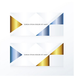 Abstract banner modern gold and blue vector
