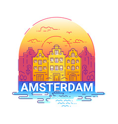 Amserdam - modern line travel vector