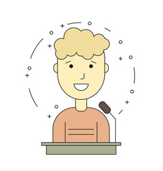 avatar man on tribune for speech vector image