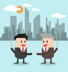 Business handshake with a knife vector image