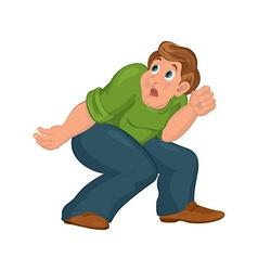 Cartoon man in green top with bent knees scared vector