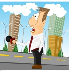 cartoon news reporter with microphone vector image vector image