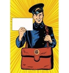 Cheerful retro postman pop art vector image