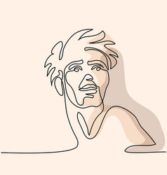 continuous line abstract portrait of a man vector image vector image