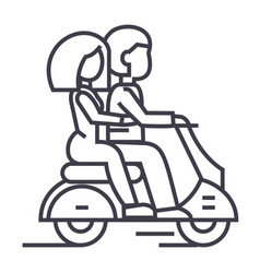 couple in love riding a scooter line icon vector image