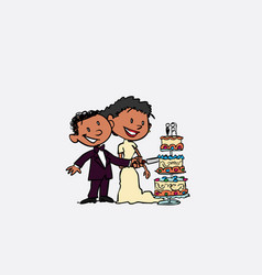 couple of newlyweds cutting wedding cake happy vector image