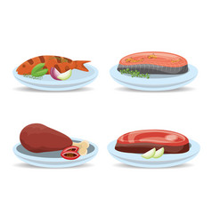 Delicious grilled meat and fish menu restaurant vector