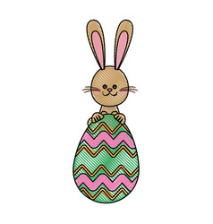 Drawing funny easter bunny egg decoration vector