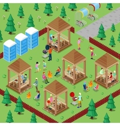 Family Grill BBQ Area in the Forest with People vector image vector image