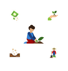 Flat icon plant set of care seed packet and vector