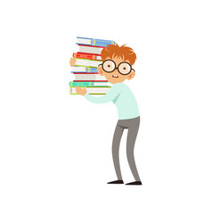 funny nerd boy carrying stack of books cartoon vector image