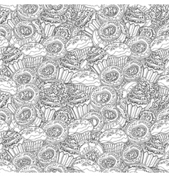 hand drawn seamless pattern with donuts vector image