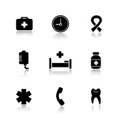 Hospital drop shadow icons set vector