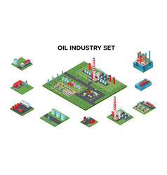 isometric petroleum industry concept vector image vector image