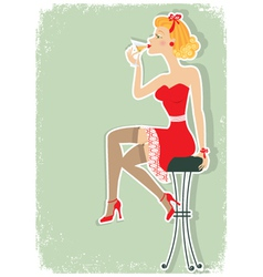 martini in red dress vector image
