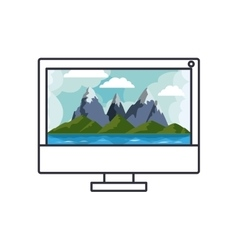 Mountains and sea inside computer design vector