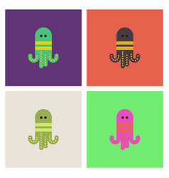 Octopus cartoon collection vector