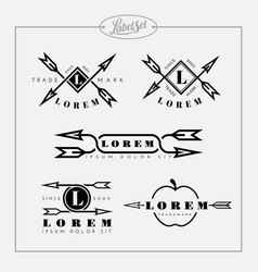 outline label set with arrow vector image vector image