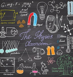 Physics and science elements doodles icons set vector image vector image