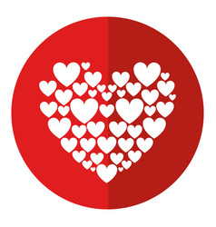 Red hearts love shadow vector