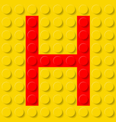 red letter h in yellow plastic construction kit vector image