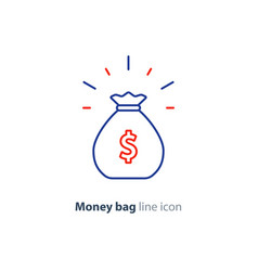 sack of money finance saving award prize mono line vector image vector image