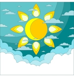Sun in the sky Good weather background vector image
