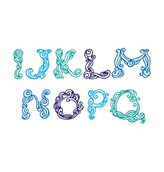 Swirly hand drawn font letters set I-Q vector image