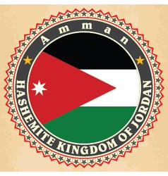Vintage label cards of jordan flag vector