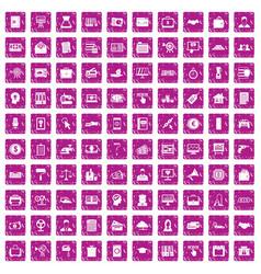 100 lending icons set grunge pink vector