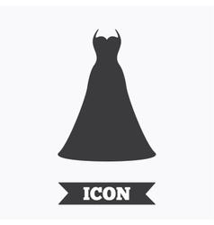 Wedding dress sign icon elegant bride symbol vector