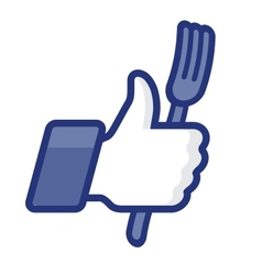 Thumbs up symbol icon with fork vector