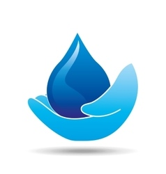 Hand holding drop water icon vector