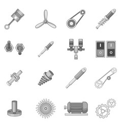 Mechanism parts icons set monochrome vector