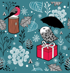 Winter landscape with frozen birds and nature vector