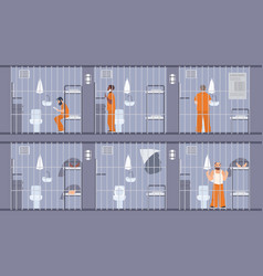 Colorful featuring prisoners behind vector
