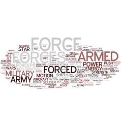 Forces word cloud concept vector