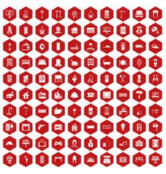 100 comfortable house icons hexagon red vector
