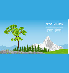 Landscape with tree and mountain vector