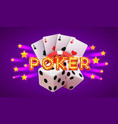 poker label casino banner signboard background vector image