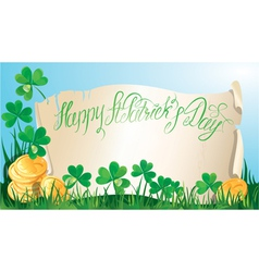 Happy st patricks day old scroll shamrock vector