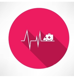 Ambulance on pulse icon vector