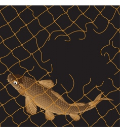 Carp fishing nets vector