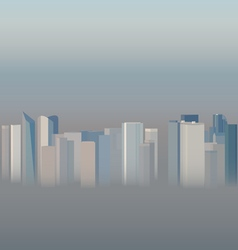 High-rise office city buildings in the smog vector
