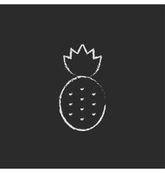 Pineapple icon drawn in chalk vector