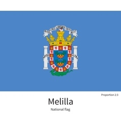 National flag of melilla with correct proportions vector