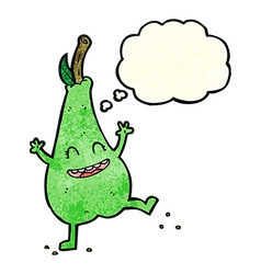 Cartoon happy dancing pear with thought bubble vector